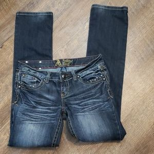 Antique Rivet distressed faded skinny jeans